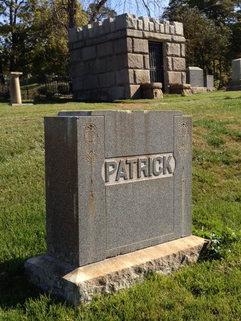 After his death in June 1912, Thomas Patrick's body was sent to Berkeley for eventual internment in what is now the Sunset View Cemetery in El Cerrito, a beautiful spot on a hill overlooking the San Francisco Bay.  He is buried in this family plot with five other family members, including his father, William.