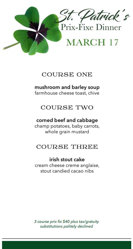 St. Patrick's Prix-Fixe Dinner Menu